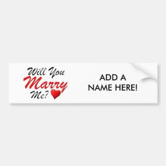 Will You Marry Me? Bumper Sticker