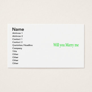 Will you marry me business card