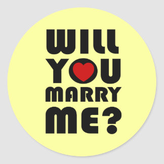 Will you marry me classic round sticker