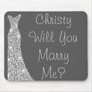 Will You Marry Me Custom Blingy Dress Mouse Pad
