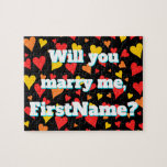 "[ Thumbnail: ""Will You Marry Me"" + Custom Name + Hearts Jigsaw Puzzle ]"