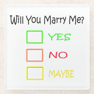 Will You Marry Me? Glass Coaster