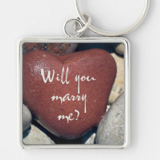 Will you marry me? Heart Shaped Beach Stone Keychain