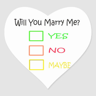 Will You Marry Me? Heart Sticker