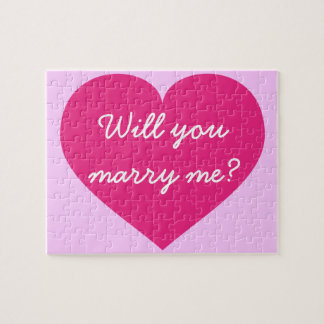 Will you marry me? hot pink heart puzzle