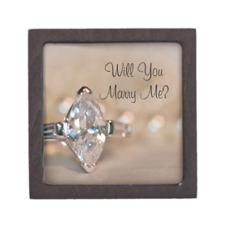 Will You Marry Me Marquise Diamond Ring Box