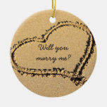 Will You Marry Me Marriage Proposal Beach Heart Double-Sided Ceramic Round Christmas Ornament