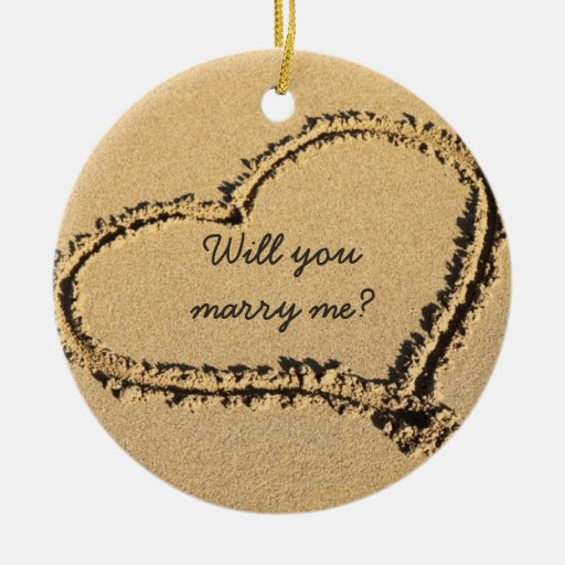 Will You Marry Me Marriage Proposal Beach Heart Christmas Tree Ornament