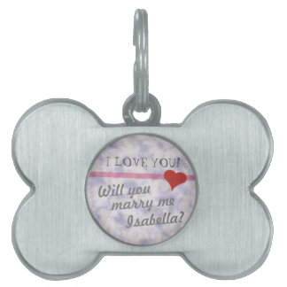 Will You Marry Me? Marriage Proposal Dog Tag Pet Name Tag
