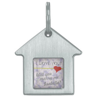 Will You Marry Me? Marriage Proposal House Dog Tag Pet Name Tag