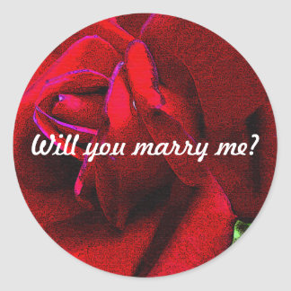 """Will you marry me?"" message on red rose Classic Round Sticker"
