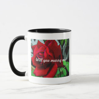 """Will you marry me?"" message on red rose Mug"