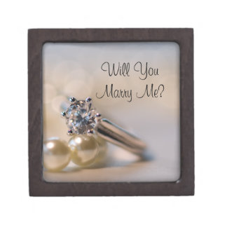 Will You Marry Me Pearls and Engagement Ring Box Premium Keepsake Box