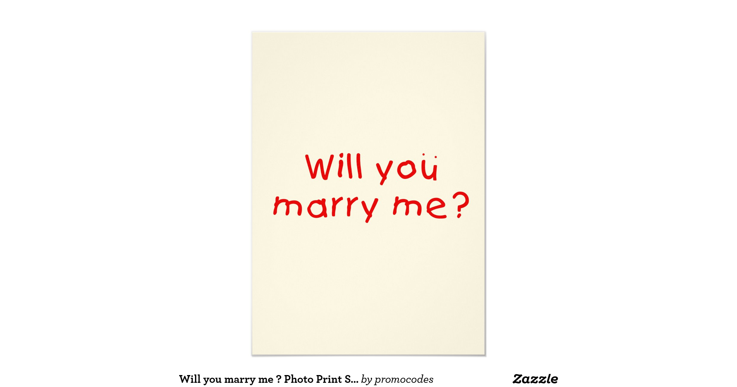 Will you marry me ? Photo Print Stamp Sticker 4.5x6.25 ...