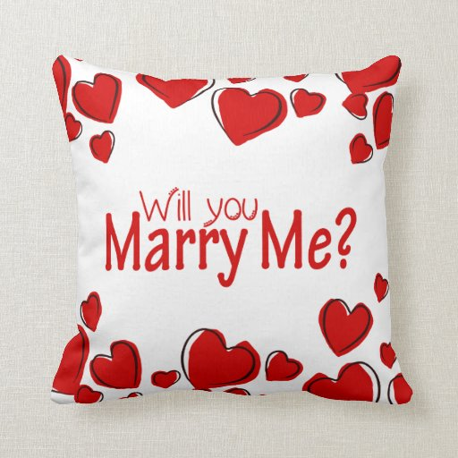 Will You Marry Me Pillow Hearts Zazzle