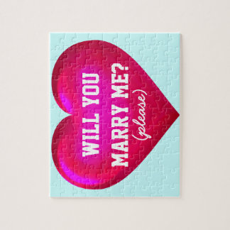 Will you marry me? pink glass heart puzzle