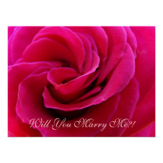Will You Marry Me?! Pink Rose art print Weddings