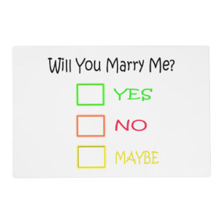 Will You Marry Me? Placemat