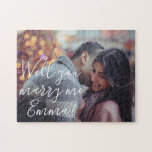 """Will You Marry Me Proposal Personalize Photo Jigsaw Puzzle<br><div class=""""desc"""">This design was created through digital art. It may be personalized by clicking the customize button and changing the color, adding a name, initials or your favorite words. Contact me at colorflowcreations@gmail.com if you with to have this design on another product. Purchase my original abstract acrylic painting for sale at...</div>"""