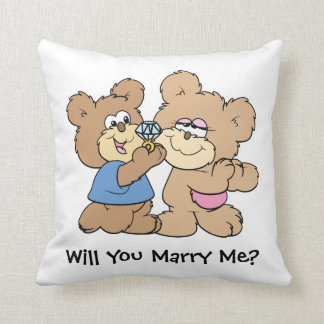 will you marry me proposing teddy  bear pillows