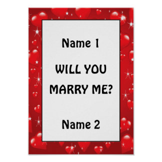 Will You Marry Me Red Hearts Poster