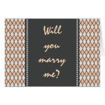 "[ Thumbnail: ""Will You Marry Me?""; Rustic Brown, Beige Diamonds ]"