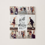 """Will You Marry Me Script & Custom Photo Collage Jigsaw Puzzle<br><div class=""""desc"""">Pop the question, with our fun and trendy, will you marry me? custom 8 photo layout jigsaw puzzle. Our design features an eight photo collage design to display your own special photos. """"Will you marry me?"""" is designed in a trendy white typographic design displayed in the center of the puzzle....</div>"""