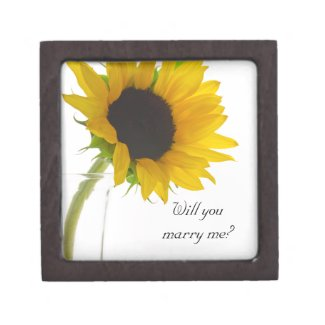 Will You Marry Me Sunflower Engagement Ring Box Premium Jewelry Box