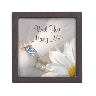 Will You Marry Me White Daisy Engagement Ring Box