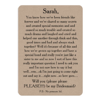 Will you please be my bridesmaid? Custom text card