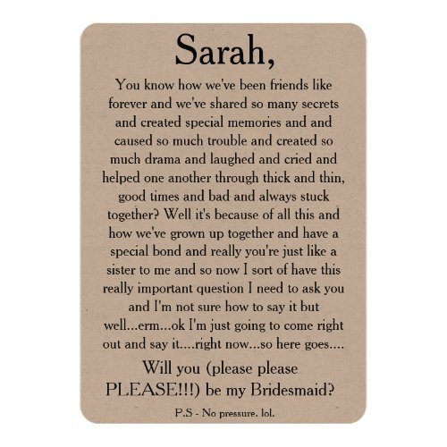 Will you please be my bridesmaid Custom text card