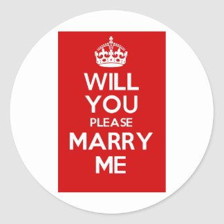 Will You Please Marry Me (Red) Round Stickers