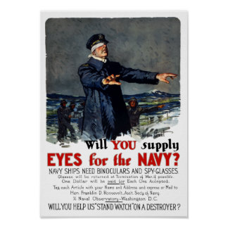 Will you supply eyes for the Navy? WWI Poster