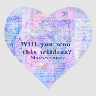 Will you woo this wildcat Shakespeare quote Stickers