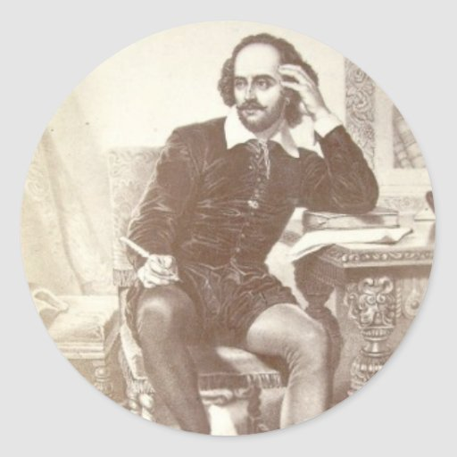 Willaim Shakespeare Pegatina Redonda