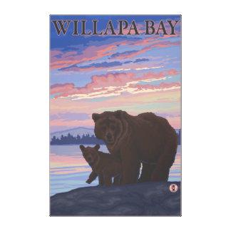 Willapa Bay, WashingtonBear and Cub Canvas Print