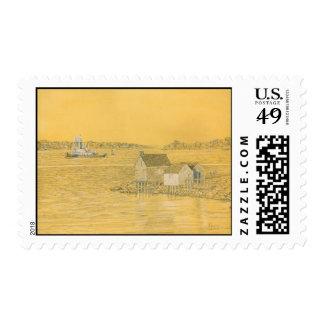 Willard Beach Fishing Shacks Postage