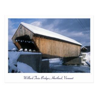 Willard Twin Covered Bridges, Hartland Vermont Postcard
