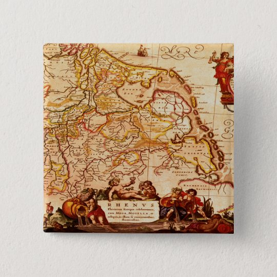 Willem Blaeu Old Germany Map Historic Gift Series Button