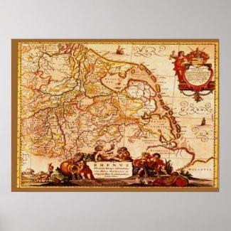 Willem Blaeu Old Rhineland Germanic Map Series Print