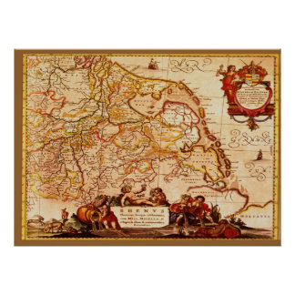 Willem Blaeu Old Rhineland Germanic Map Series Poster
