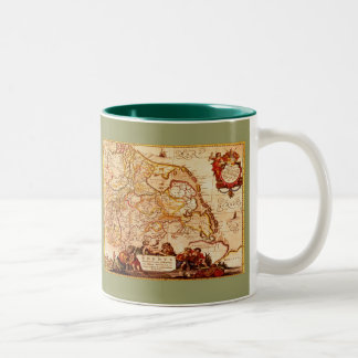 Willem Blaeu Old Rhineland Germanic Map Series Two-Tone Coffee Mug