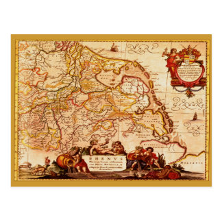 Willem Blaeu Old Rhinelands Map Historic Postcard