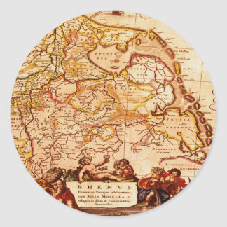 Willem Blaeu Rhinelands Germany Map Historic Classic Round Sticker