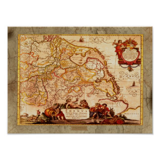 WILLEM J. BLAEU OLD RHINELANDS GERMAN MAP POSTER