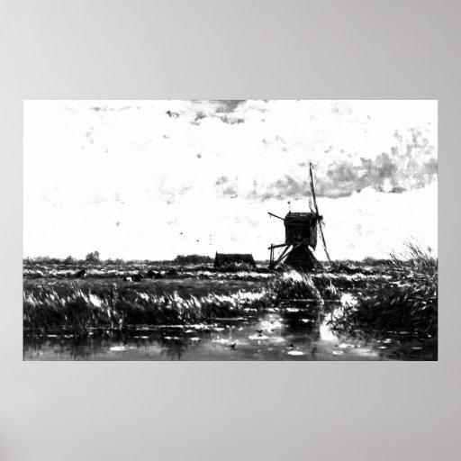 Willem Roelofs - paisaje con el molino de viento ( Póster