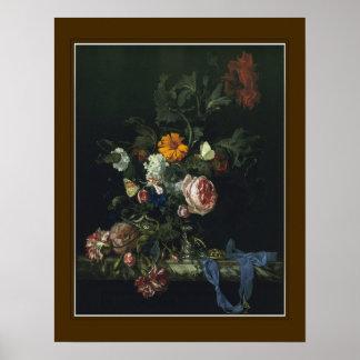 Willem van Aelst, 'flores y un reloj ' Póster