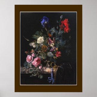 Willem van Aelst,'Flowers with Watch' Poster