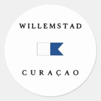 Willemstad Curacao Alpha Dive Flag Classic Round Sticker