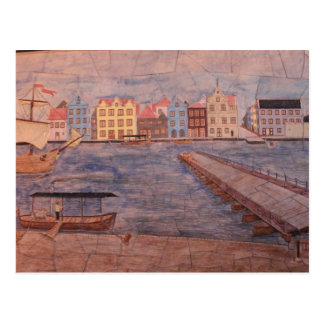 Willemstad Curacao Colorful Artwork Postcard